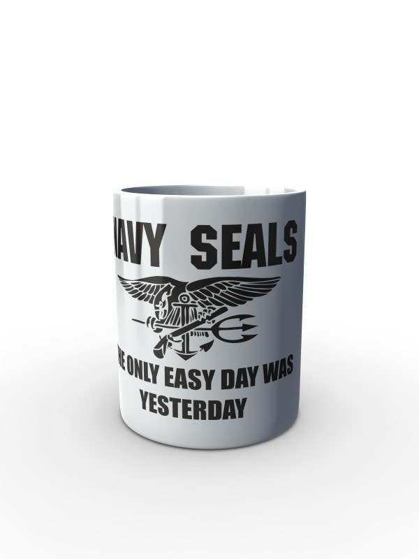 Bílý hrnek United States NAVY SEALS The Only Easy Day Was Yesterday
