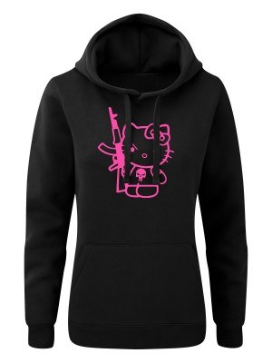 AKCE Dámská mikina s kapucí Hello Kitty Punisher Kalashnikov - černá, XS