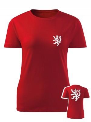 AKCE Dámské tričko Czech Double Lion - červené, L