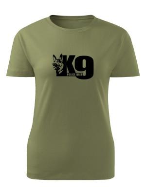 AKCE Dámské tričko K9 Police Unit - olivové, S