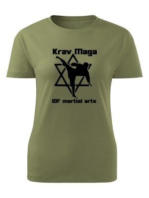 AKCE Dámské tričko Krav Maga IDF martial arts - olivové, L