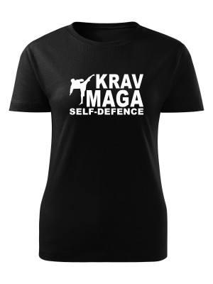 AKCE Dámské tričko Krav Maga - self defence fighter - černé, S