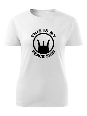 AKCE Dámské tričko THIS IS MY PEACE SIGN - bílé, L