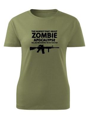 AKCE Dámské tričko Zombie Apocalypse M4 Carbine - olivové, M