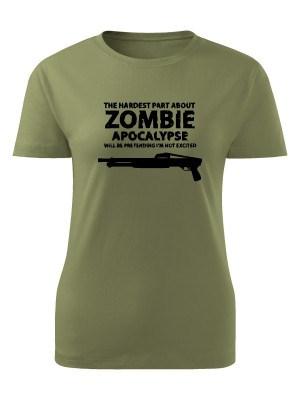 AKCE Dámské tričko Zombie Apocalypse Shotgun FORT - olivové, L