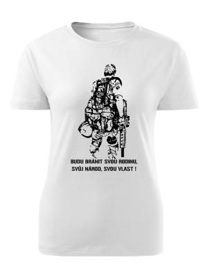 AKCE Dámské triko BUDU BRÁNIT SVOU VLAST - bílé - S