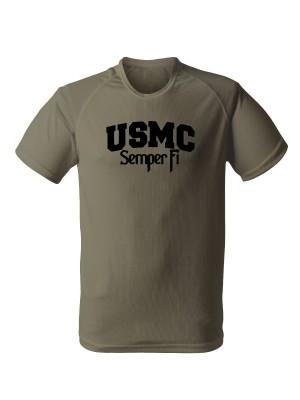 AKCE Funkční tričko USMC Semper - olivové, XL