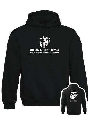 AKCE Mikina s kapucí EGA Marines EST. 1775 - černá, M