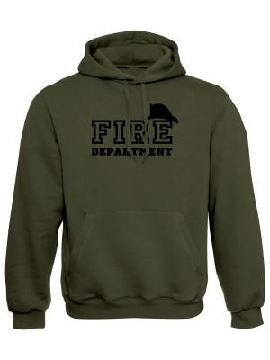AKCE Mikina s kapucí FIRE Department - olivová, S
