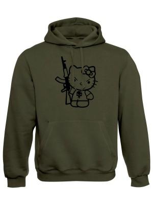 AKCE Mikina s kapucí Hello Kitty Punisher Kalashnikov - olivová, S