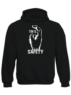 AKCE Mikina s kapucí THIS IS MY SAFETY - černá, XL