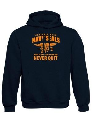 AKCE Mikina s kapucí United States NAVY SEALS Never Quit - námořní modrá, XL