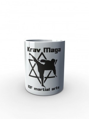 Bílý hrnek Krav Maga IDF martial arts