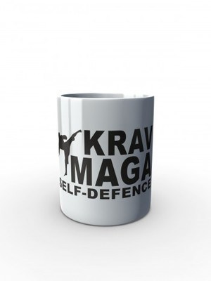 Bílý hrnek Krav Maga - self defence fighter