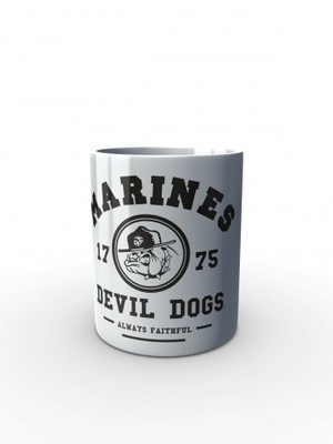 Bílý hrnek Marines Devil Dogs