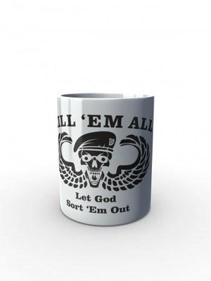Bílý hrnek Special Forces Kill Them All Let God Sort Them Out
