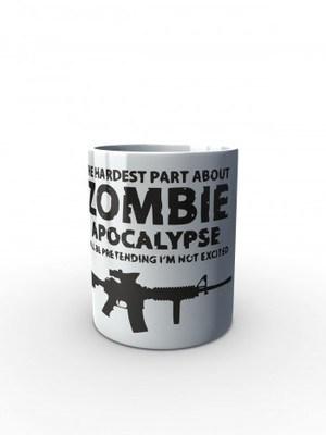 Bílý hrnek Zombie Apocalypse M4 Carbine