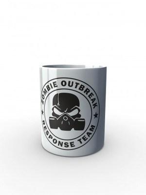 Bílý hrnek Zombie Outbreak Response Team Gas Masked Skull