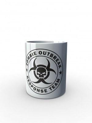 Bílý hrnek Zombie Outbreak Response Team Skull