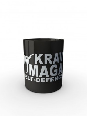 Černý hrnek Krav Maga - self defence fighter