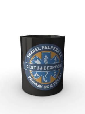 Černý hrnek TRAVEL HELPERS - logo