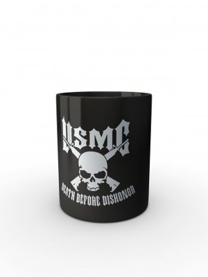 Černý hrnek USMC Death Before Dishonor