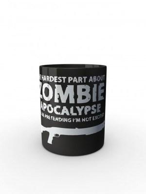 Černý hrnek Zombie Apocalypse Shotgun Remington