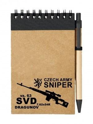Poznámkový blok SVD DRAGUNOV CZECH ARMY SNIPER