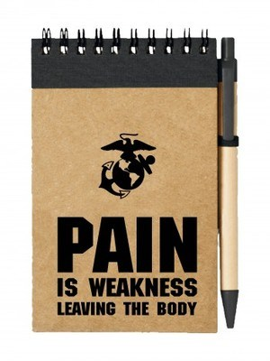 Poznámkový blok USMC PAIN IS WEAKNESS LEAVING THE BODY