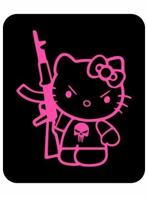 Samolepka Hello Kitty Punisher Kalashnikov