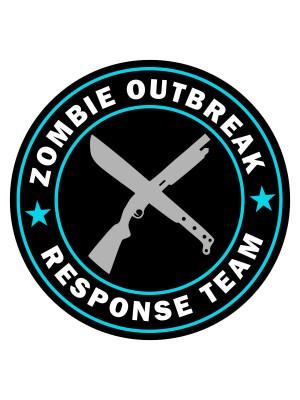 Samolepka Zombie Outbreak Response Team Machete and Shotgun